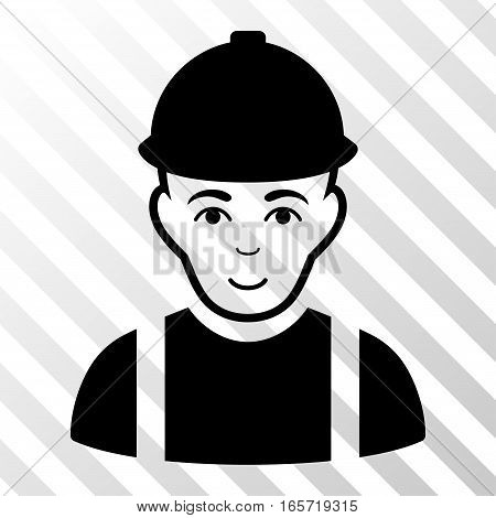 Black Worker interface toolbar pictogram. Vector pictogram style is a flat symbol on diagonal hatch transparent background.