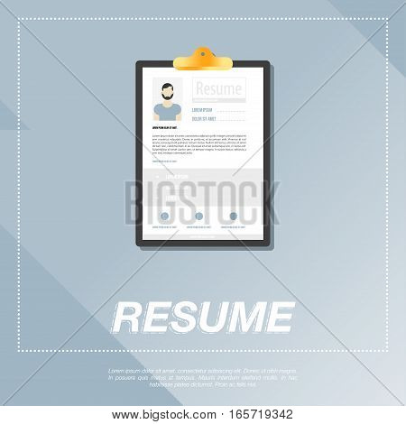 CV resume template for a man. Flat vector illustration EPS 10