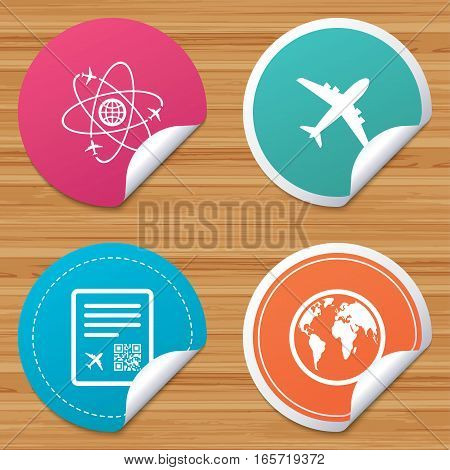 Round stickers or website banners. Airplane icons. World globe symbol. Boarding pass flight sign. Airport ticket with QR code. Circle badges with bended corner. Vector