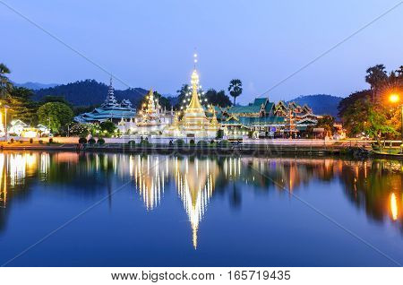Wat Jongklang - Wat Jongkham the most favourite place for tourist in Mae hong son near Chiang mai Thailand with sunset blue sky