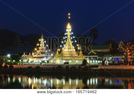 Wat Jongklang - Wat Jongkham the most favourite place for tourist in Mae hong son near Chiang mai Thailand with night sky