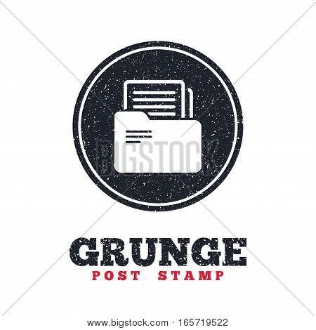 Grunge post stamp. Circle banner or label. Document folder sign. Accounting binder symbol. Bookkeeping management. Dirty textured web button. Vector