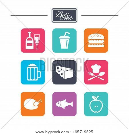 Food, drink icons. Beer, fish and burger signs. Chicken, cheese and apple symbols. Colorful flat square buttons with icons. Vector