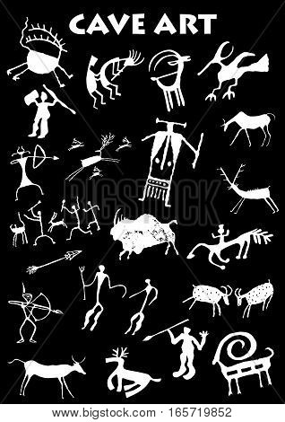 Set of Cave Art in black background - Vector image