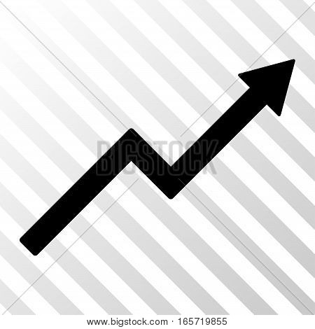 Black Growth Trend Chart interface toolbar icon. Vector pictogram style is a flat symbol on diagonal hatch transparent background.