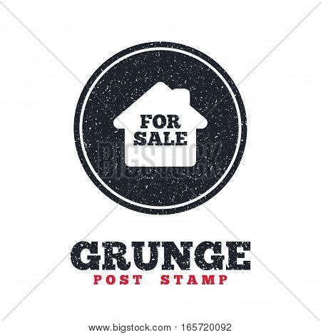 Grunge post stamp. Circle banner or label. For sale sign icon. Real estate selling. Dirty textured web button. Vector