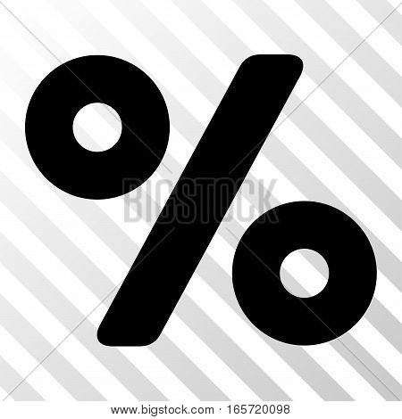 Black Percent interface pictogram. Vector pictogram style is a flat symbol on diagonal hatch transparent background.