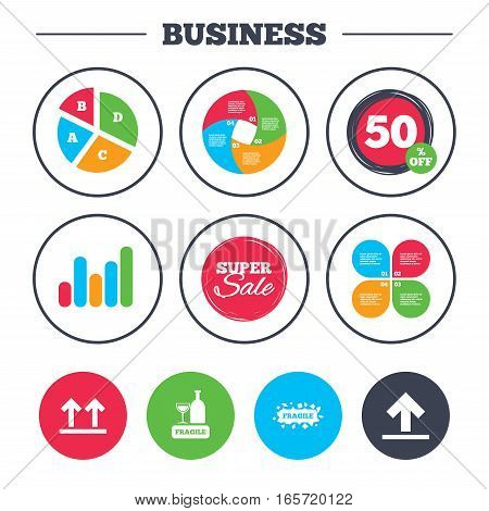 Business pie chart. Growth graph. Fragile icons. Delicate package delivery signs. This side up arrows symbol. Super sale and discount buttons. Vector