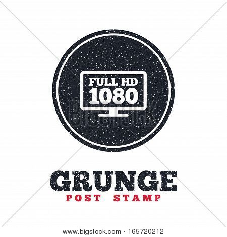 Grunge post stamp. Circle banner or label. Full hd widescreen tv sign icon. 1080p symbol. Dirty textured web button. Vector