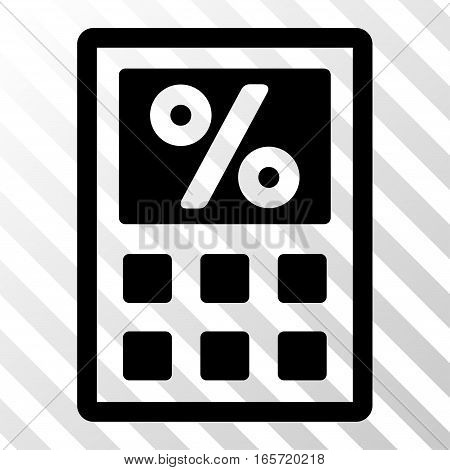 Black Tax Calculator interface icon. Vector pictograph style is a flat symbol on diagonally hatched transparent background.