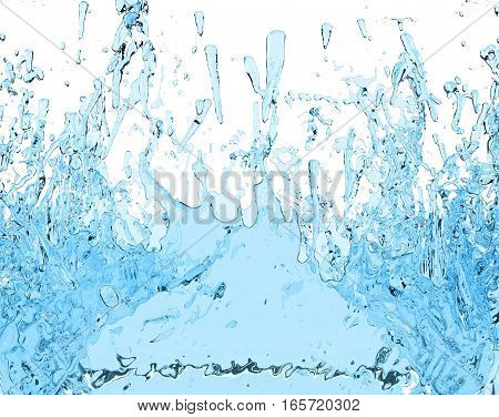 blue water splash juice drink 3D illustration