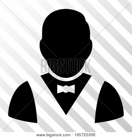 Black Waiter interface toolbar pictogram. Vector pictogram style is a flat symbol on diagonal hatch transparent background.