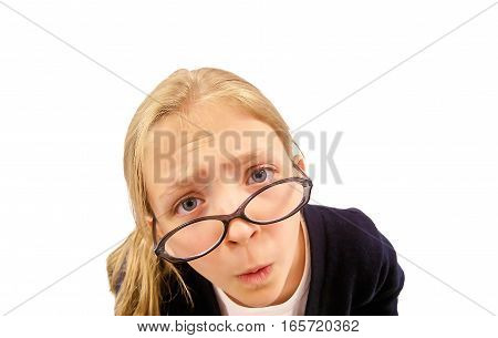 Cute Young Girl Looking Over Glasses at Camera