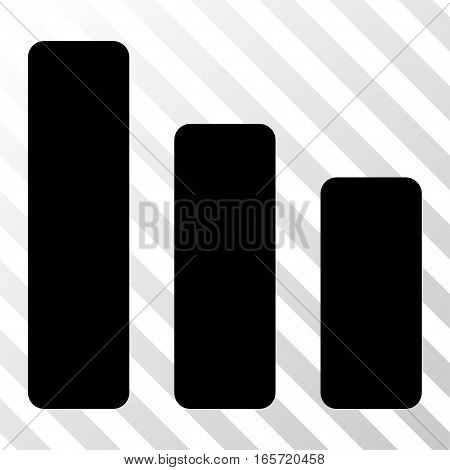 Black Bar Chart Decrease interface toolbar icon. Vector pictogram style is a flat symbol on diagonally hatched transparent background.