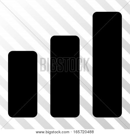 Black Bar Chart Increase interface icon. Vector pictograph style is a flat symbol on diagonally hatched transparent background.