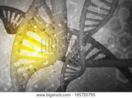 Background image with DNA molecule research concept, 3D rendering