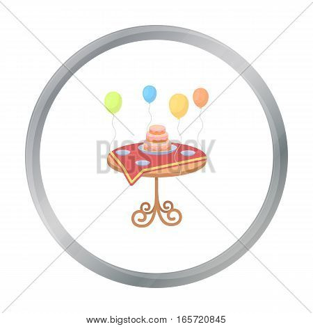 Birthday cake on the table icon in cartoon style isolated on white background. Event service symbol vector illustration.
