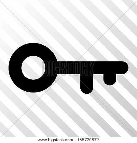 Black Key interface icon. Vector pictograph style is a flat symbol on diagonally hatched transparent background.