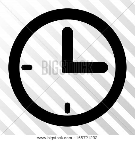 Black Time interface pictogram. Vector pictograph style is a flat symbol on diagonal hatch transparent background.