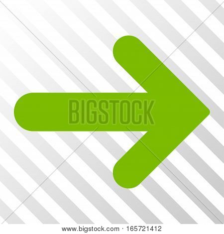 Eco Green Arrow Right interface pictogram. Vector pictogram style is a flat symbol on diagonally hatched transparent background.