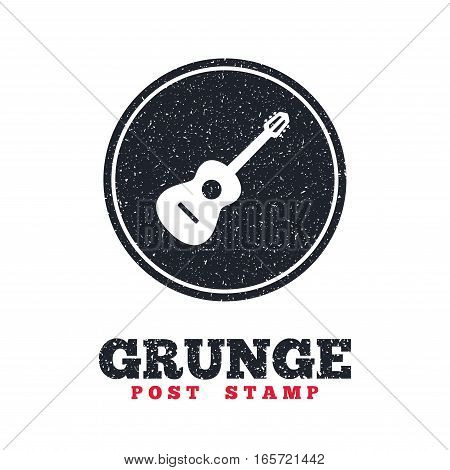 Grunge post stamp. Circle banner or label. Acoustic guitar sign icon. Music symbol. Dirty textured web button. Vector