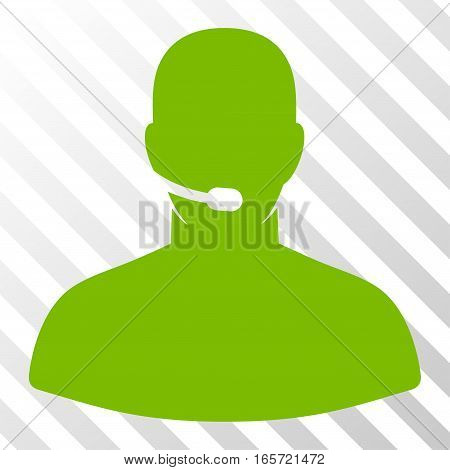 Eco Green Call Center Operator interface icon. Vector pictograph style is a flat symbol on diagonal hatch transparent background.