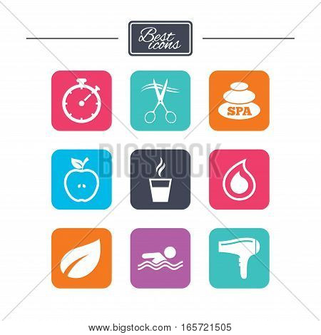 Spa, hairdressing icons. Swimming pool sign. Water drop, scissors and hairdryer symbols. Colorful flat square buttons with icons. Vector