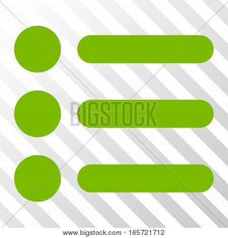 Eco Green Items interface toolbar pictogram. Vector pictograph style is a flat symbol on diagonal hatch transparent background.