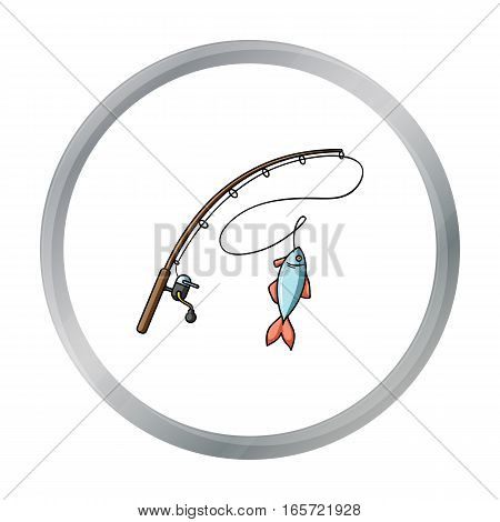 Fishing rod and fish icon in cartoon design isolated on white background. Fishing symbol stock vector illustration.