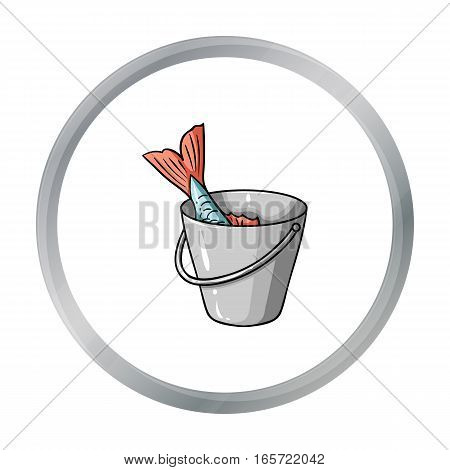 Fish in the bucket icon in cartoon design isolated on white background. Fishing symbol stock vector illustration.