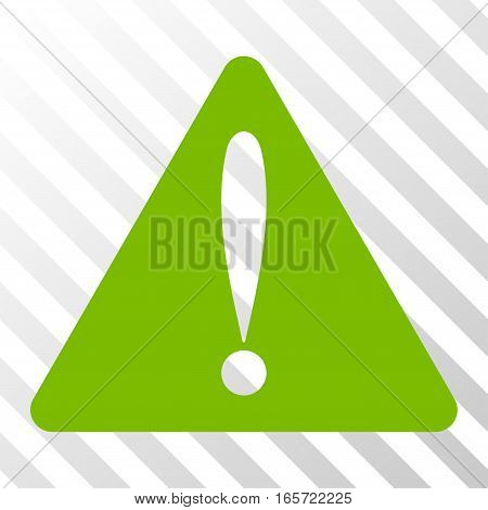 Eco Green Warning Error toolbar pictogram. Vector pictograph style is a flat symbol on diagonal hatch transparent background.