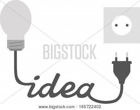 Grey Light Bulb With Idea And Plug And Outlet