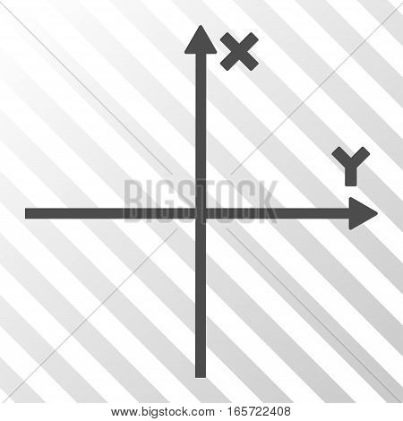 Gray Cartesian Axes interface pictogram. Vector pictograph style is a flat symbol on diagonally hatched transparent background.