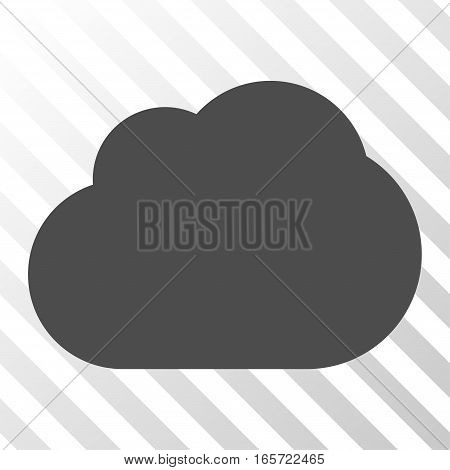 Gray Cloud toolbar pictogram. Vector pictogram style is a flat symbol on diagonally hatched transparent background.