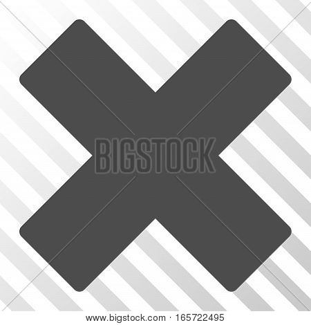 Gray Delete X-Cross interface pictogram. Vector pictogram style is a flat symbol on diagonally hatched transparent background.