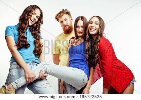 company of hipster guys, bearded red hair boy and girls students having fun together friends, diverse fashion style, lifestyle people concept isolated on white background close up