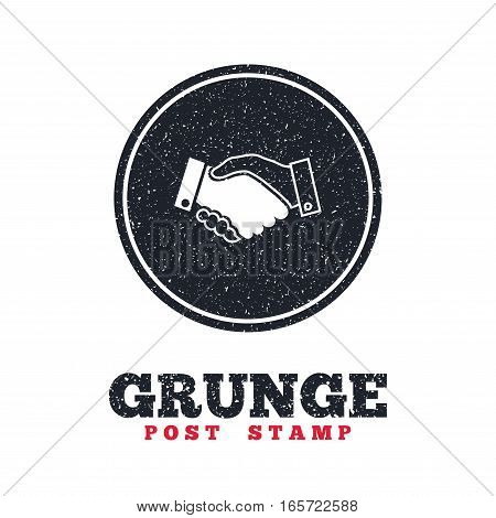 Grunge post stamp. Circle banner or label. Handshake sign icon. Successful business symbol. Dirty textured web button. Vector