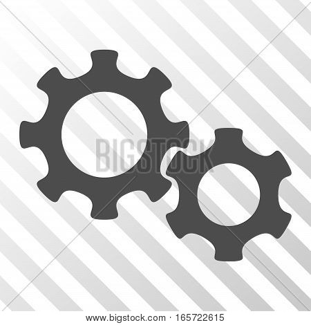 Gray Gears toolbar icon. Vector pictogram style is a flat symbol on diagonal hatch transparent background.
