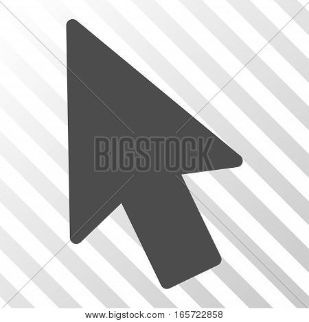 Gray Mouse Pointer interface pictogram. Vector pictogram style is a flat symbol on diagonally hatched transparent background.