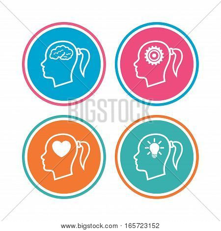 Head with brain and idea lamp bulb icons. Female woman think symbols. Cogwheel gears signs. Love heart. Colored circle buttons. Vector