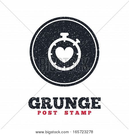 Grunge post stamp. Circle banner or label. Heart Timer sign icon. Stopwatch symbol. Heartbeat palpitation. Dirty textured web button. Vector