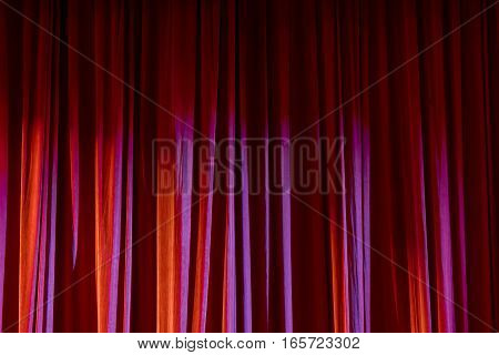 Red Curtain In The Theatre.