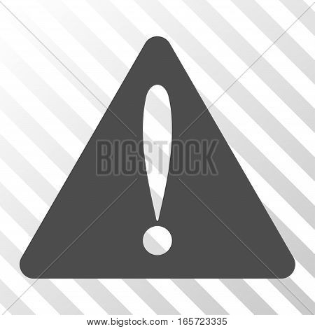 Gray Warning Error interface toolbar icon. Vector pictograph style is a flat symbol on diagonal hatch transparent background.
