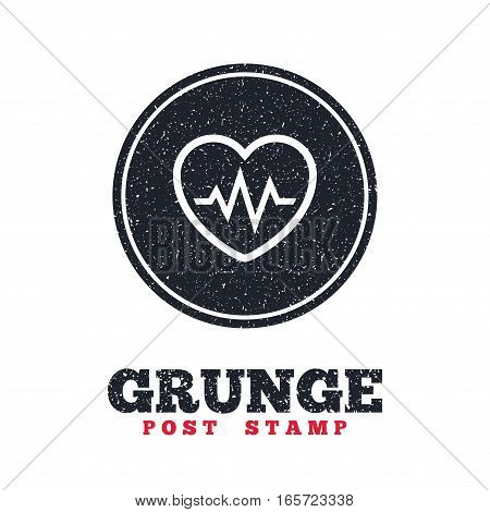 Grunge post stamp. Circle banner or label. Heartbeat sign icon. Cardiogram symbol. Dirty textured web button. Vector