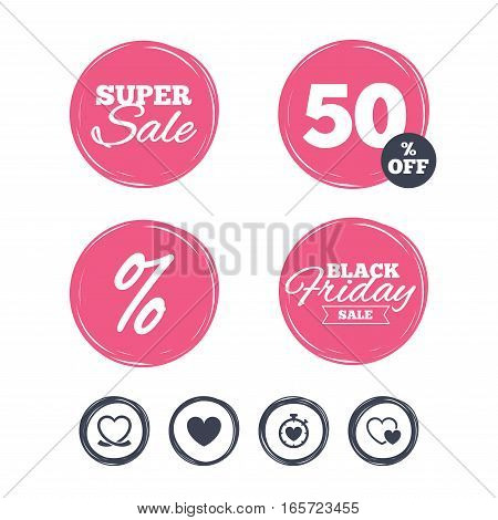 Super sale and black friday stickers. Heart ribbon icon. Timer stopwatch symbol. Love and Heartbeat palpitation signs. Shopping labels. Vector