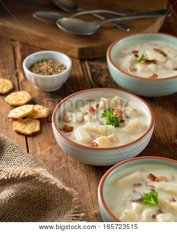 Delicious home made bacon clam chowder with oyster crackers.