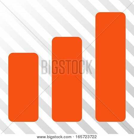 Orange Bar Chart Increase toolbar icon. Vector pictogram style is a flat symbol on diagonal hatch transparent background.