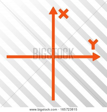 Orange Cartesian Axes interface icon. Vector pictogram style is a flat symbol on diagonally hatched transparent background.