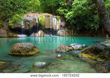 Erawan Waterfall freshness after the rain in Kanchanaburi Thailand