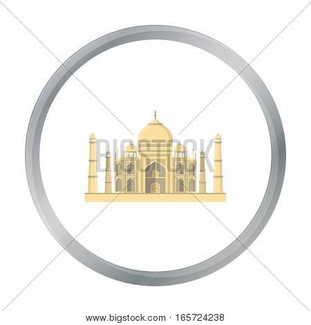 Taj Mahal icon in cartoon style isolated on white background. India symbol vector illustration.